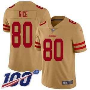 Mens 49ers #80 Jerry Rice 100th Season Jersey